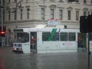 Heavy rain in Melbourne storm