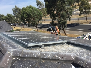 Gutter Cleaning around Solar panels